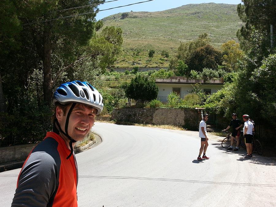 Having a break on the Carini Climb
