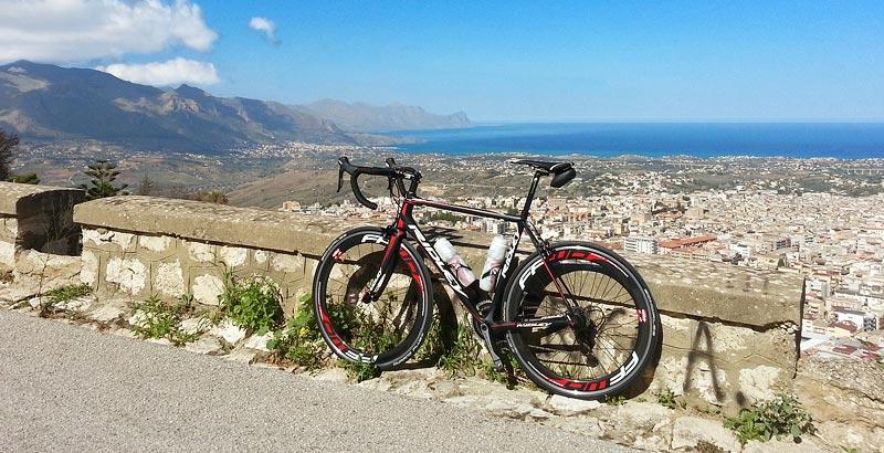 My Ridley Helium SL on the climb towards the Bosco the Alcamo on Monte Bonifato