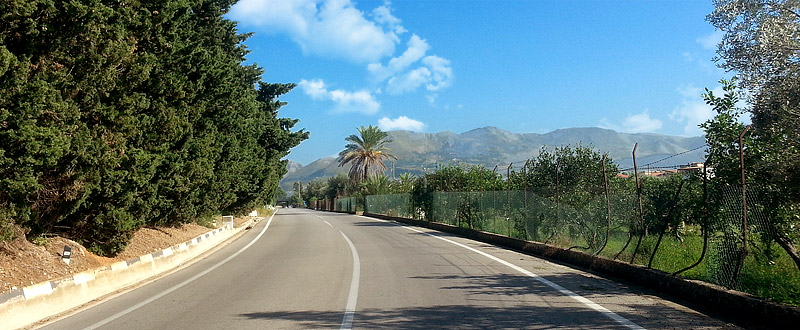 On the road near the town of Partinico
