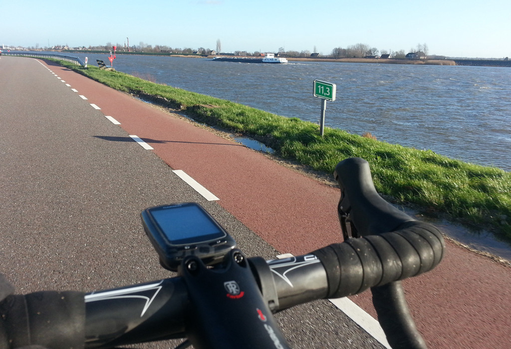 Cycling on a Dutch dyke (no slang)