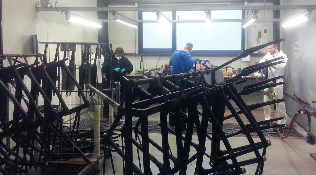Preparing the frames for the paint job