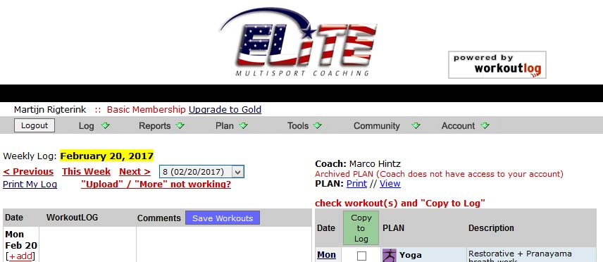 Logging workouts on the Team EMC log page