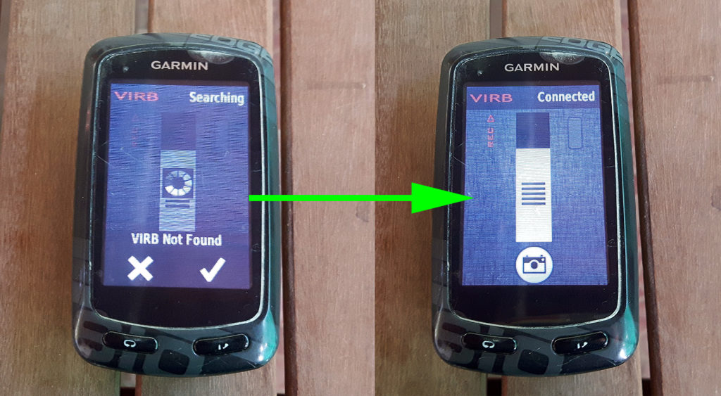 On the left: Virb turned off. On the right: Virb turned on and connected.